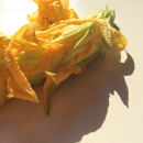 Courgette flowers, stuffed with feta and yogurt