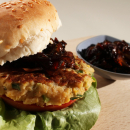 Chickpea burger with red onion chutney
