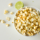 Films and the popcorn, with sriracha and lime