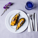 Aubergine with pumpkin and smoked anchovies