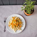 Pumpkin, brie and sage pasta
