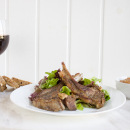 Wild boar chops with citrus zest and mustard cream sauce