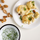 Baked cauliflower with chervil, sourmilk and almonds