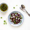 Festive beetroot salad with pistachios and herbs