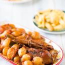 Rabbit stew with shallots, kunéli stifátho