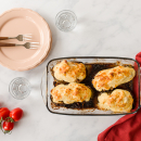 Melitzánes papoutsákia: stuffed aubergines with beef mince and bechamel sauce