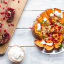 Roasted pumpkin with pomegranate and cream of feta