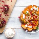 Roasted pumpkin with pomegranate and cream of feta