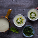 Fennel and celeriac soup, with parsley oil