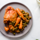 Chicken thighs with peas, one pot meals