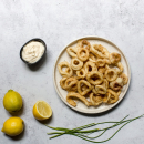 Fried squid rings, calamarakia tiganita