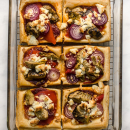 Delicious Artichoke & roasted red pepper puffs with manouri cheese