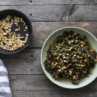 Black-eyed beans stew, with greens, raisins and pine nuts