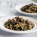Mushroom, spinach & barley 'risotto'