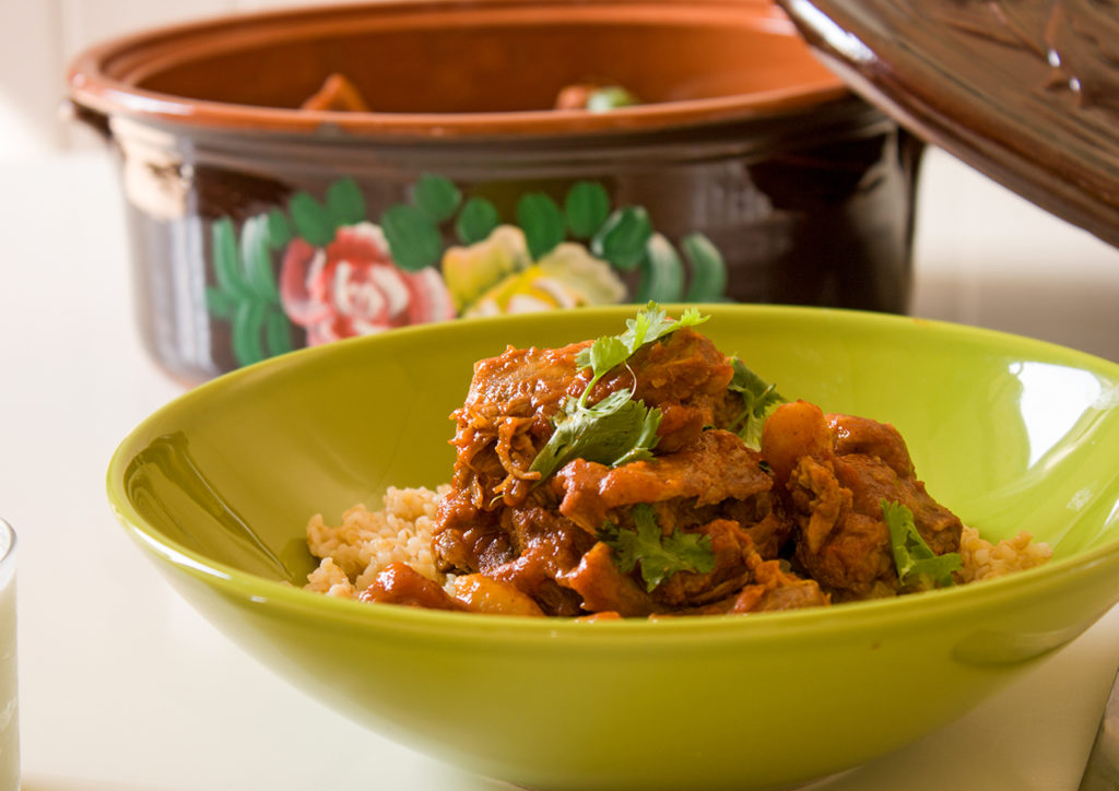 lamb tagine with almonds and apricots - Eat Yourself Greek